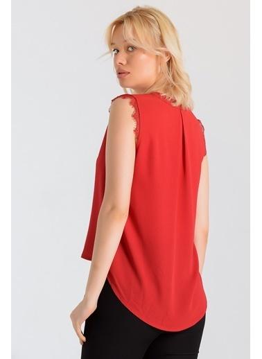 Jument Cobe Hakim Yaka Kol Dantelli Bluz Kırmızı